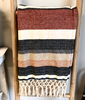 The Many Colors Striped Throw with Fringe