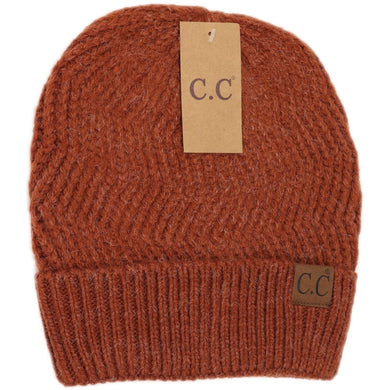 Chevron Knit Cuff Beanie – Assorted Colors