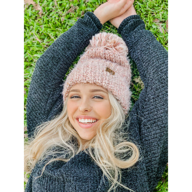 Feather Knit Pom Beanie – Assorted Colors