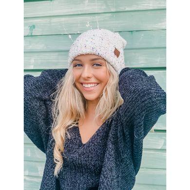 Confetti Boucle Knit Cuff Beanie – Assorted Colors