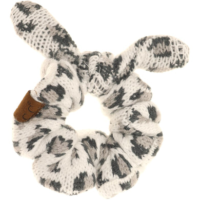 Leopard Jacquard Ponytail Scrunchie – Assorted Colors
