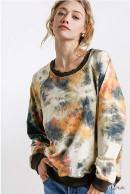 Tye Dye Print Round Neck Top