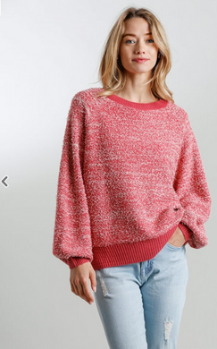 Round Neck Ribbed Hem Sweater