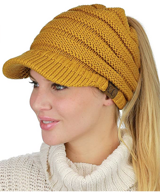 Knit Messy Bun Ponytail Beanie Cap – Assorted Colors