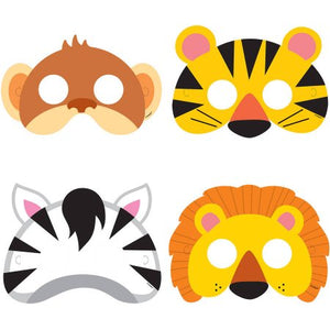 ANIMAL JUNGLE PARTY MASKS (Pack of 8)