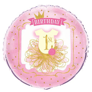 PINK & GOLD 1ST BIRTHDAY 45cm FOIL BALLOON
