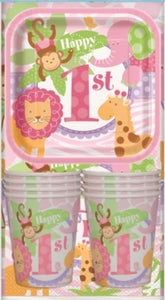 Pink Safari 1st Birthday Party Pack