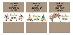 Wild One party supplies Boho Tribal Personalised Digital Chocolate Wrapper