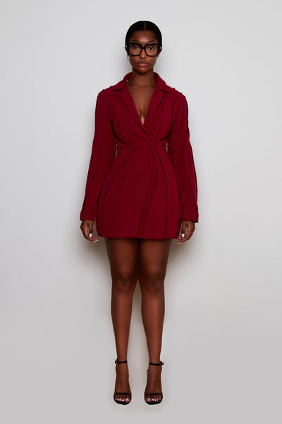 Piped Blazer Dress