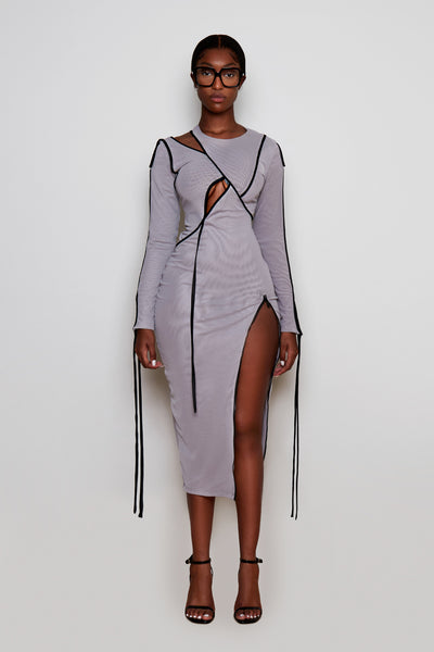 Crayon Grey Mesh Cut Out Midi