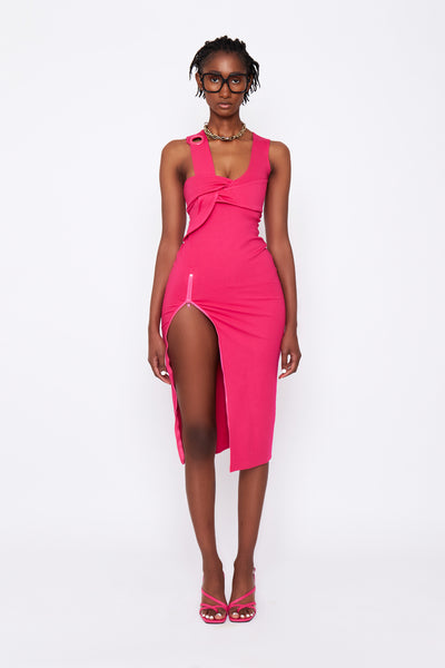 Hot Pink Midi Dress - BACK ORDER