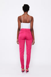 Hot Pink Side Split Suit Pants