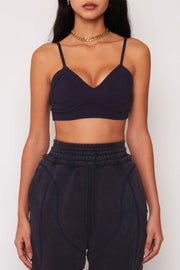 Navy Ribbed Bralette