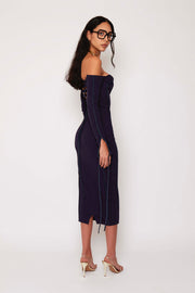 Navy Bustier Ribbed Maxi