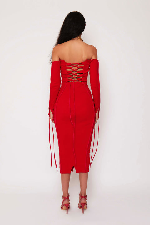 Red Bustier Ribbed Maxi