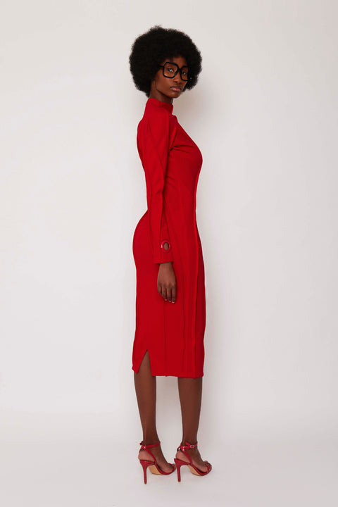 Red Piped Midi Dress