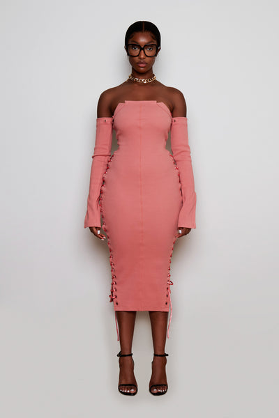Rose Pink Ribbed Midi