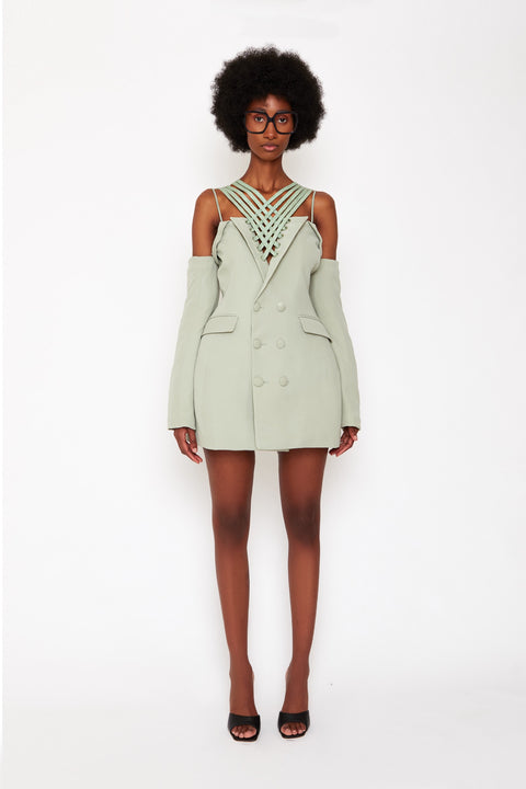 Bustier Laced Blazer Dress