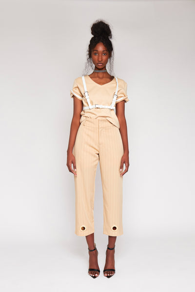 Half Cut Tact Striped Suit Pants
