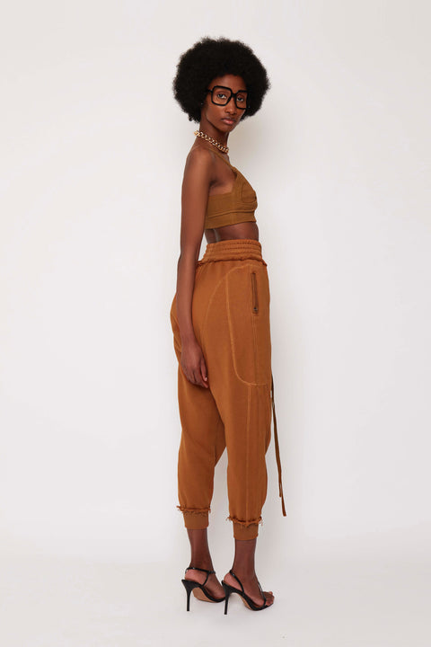 Burnt Tan Fleece Joggers
