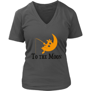 To The Moon v1 District V-Neck T-Shirts