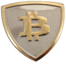 Load image into Gallery viewer, Collectible Bitcoin Shield Shaped Pin - MyCryptoMarket.ca