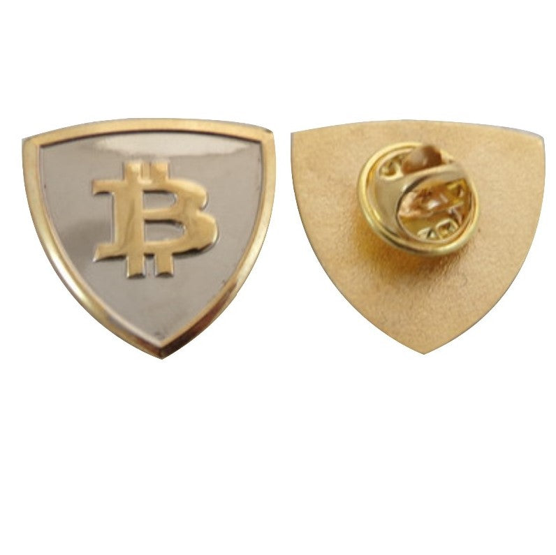 Collectible Bitcoin Shield Shaped Pin - MyCryptoMarket.ca
