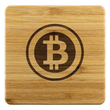 Load image into Gallery viewer, Retro Bitcoin Bamboo Coaster