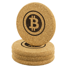 Load image into Gallery viewer, Retro Bitcoin Cork Coaster