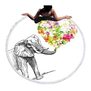 Indian Elephant Round Beach Towel - SunBeachApparel