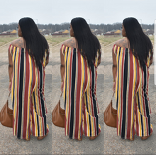 Load image into Gallery viewer, Cold Shoulder Stripe Jumpsuit
