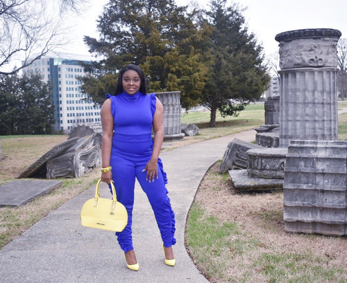 Blue Side Ruffle Point Jumpsuit