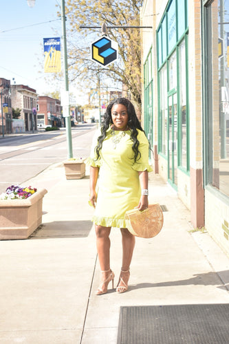 """Give Me The Green Light"" Green Ruffle Mini Dress"