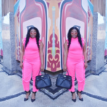 Load image into Gallery viewer, Pink Side Ruffle Jumpsuit
