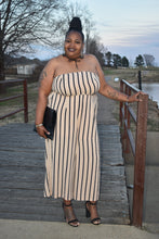 Load image into Gallery viewer, Beige and Black Stripe Jumpsuit