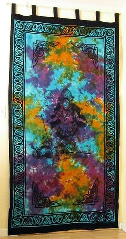 Kali Curtain Goddess of Transformation in Brilliant Tie Dye Colors