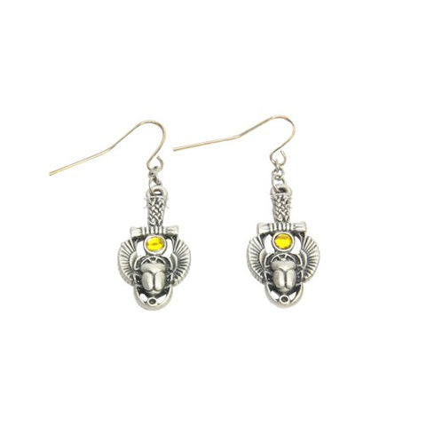 Egyptian Scarab Earrings with Amber Colored Stone