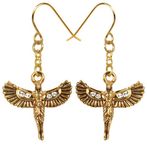Winged Egyptian Goddess Isis Earrings with Rhinestones