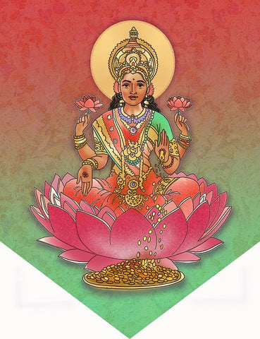 Lakshmi Individual Flag Wall Hanging Hindu Goddess Decor