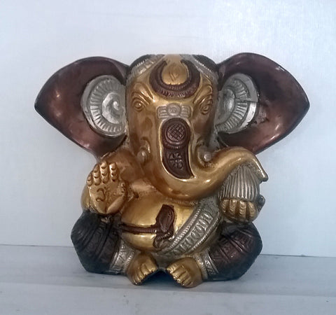 Hindu Lord Ganesh Ganesha Three Toned Big Ears All Metal Brass Statue
