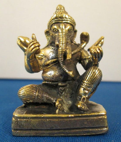 Hindu Elephant God Ganesh or Ganesha Miniature Metal Statue
