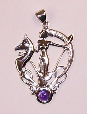 the Morrigan Phantom Queen Pendant with Natural Amethyst Stone