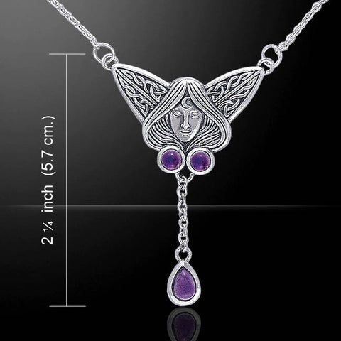 Celtic Moon Goddess with Triple Amethyst Stones
