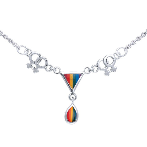 Two Women LGBTQ Necklace with 18 inch Chain and Triangle Tear Drop Pendant