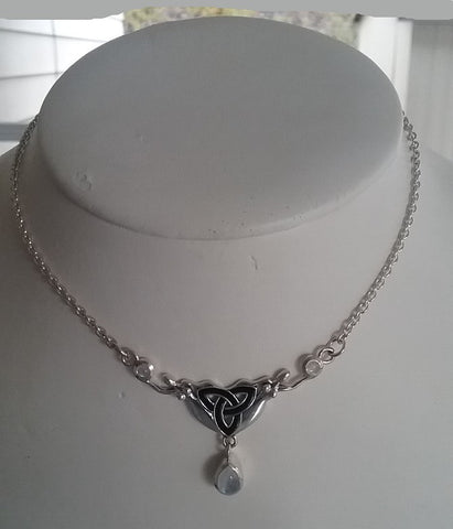 Double Goddess Danu Triquetra RMoonstone Drop Necklace w/Chain