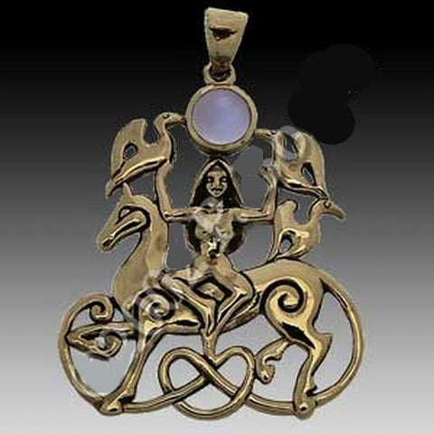 Goddess of Horses Rhiannon Pendant BZ with Natural Rainbow Moonstone
