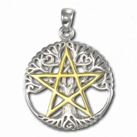 Tree of Life and Pentacle Pagan Pendant