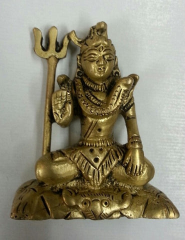 Shiva with Trident Brass Miniature Statuette