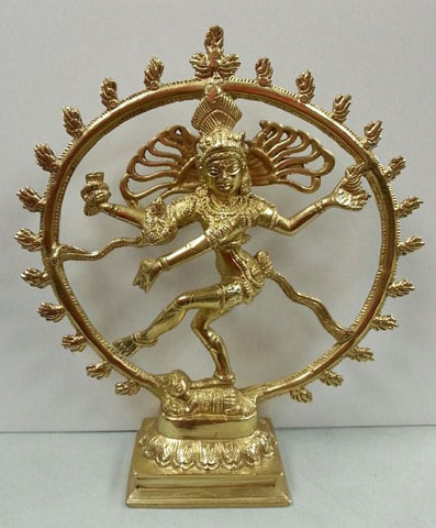 Hindu Lord Shiva Nataraja All Metal 8 inch high Brass Statue
