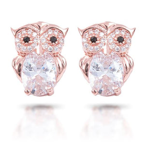 Rose Gold Owl Stud Earrings - Owl Aisle